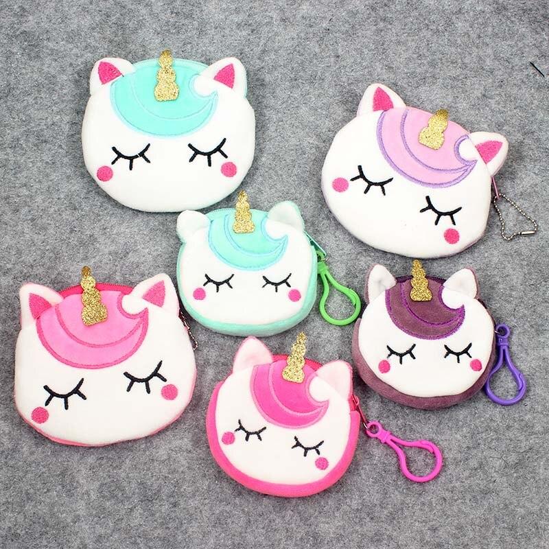 Newest 6 Colors Kawaii Cartoon Unicorn Children Plush Coin Purse Zipper Change Purse Mini Wallet Kids Girl Women For Gift