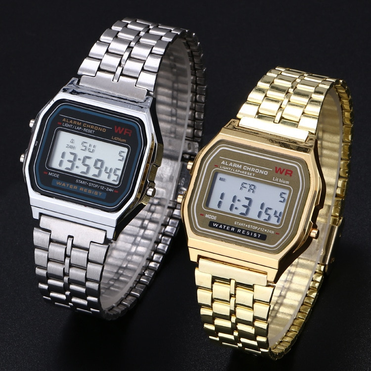 Women Men Unisex Watch Gold Silver Black Vintage LED Digital Sports Military Wristwatches Electronic