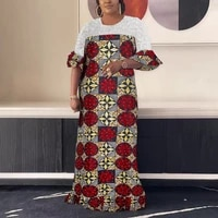 african dress for women evening fashion red floral print lace patchwork loose floor length party dinner vestidos mujer dress hot