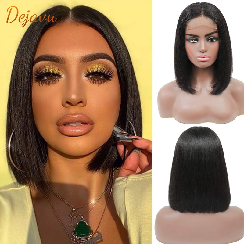 dejavu 13x4 Cut Bob Wig Short Lace Front Human Hair Wigs Brazilian Straight Bob Wigs With Baby Hair Remy Lace Front Wig Lace Wig