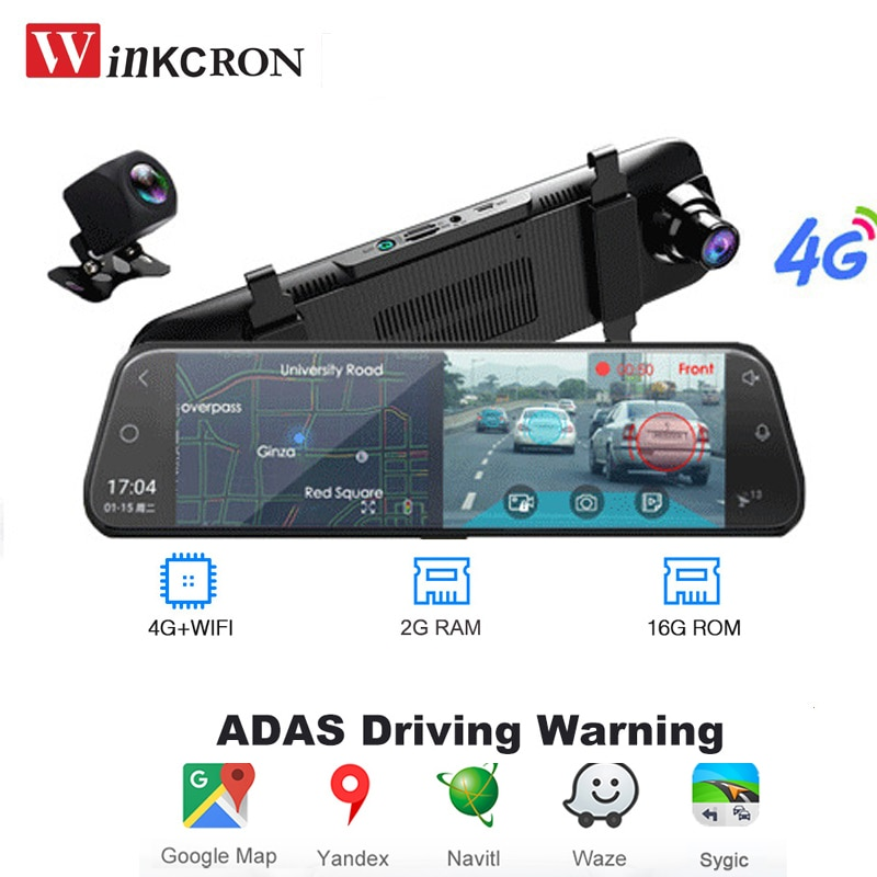 "10 ""espejo retrovisor DVR para coche 4G Sim Android 8,1 FHD 1080P ADAS cámara de salpicadero cámara de vídeo grabadora automática cámara de salpicadero GPS DVRS"