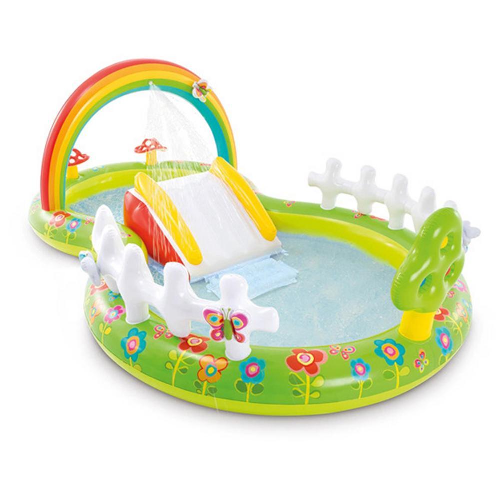 حديقة قوس قزح حمام سباحة قابل للنفخ لعب مركز بركة لوح ماء لعب مركز لعب للطفل في الهواء الطلق فناء