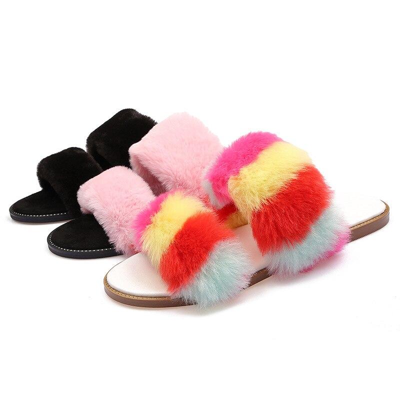 Chinelos de pelúcia feminino flip flop personalidade arco-íris-colorido pele sandálias planas casual linha-estilo redondo chinelos femininos slides