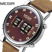 Люксовые часы от бренда MEGIR 2019 новый топ ремешок часы Для мужчин Военная Униформа спортивный коричневый кожаный ремешок кварцевые наручные ...