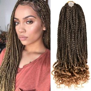Box Braids Curly Ends Goddess Crochet Box Braids Pre-looped Synthetic Hair 14''18 InchCrochet Braids Wavy Ends Hair Extensions