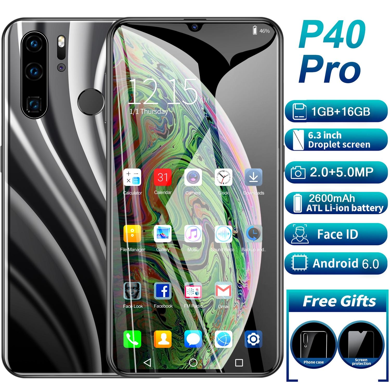 Smartphone Global Version P40 Pro cellphone  6.3 inch Full Screen Deca Core 2600mAh 1GB 16GB 4G LTE  Network Mobile Phone