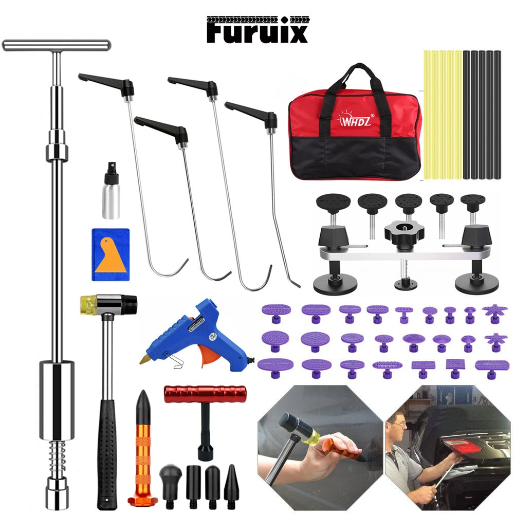 FURUIX Paintless Dent Repair Push Rods  Tools Puller Lifter Line Board Removal TOOLSKIT