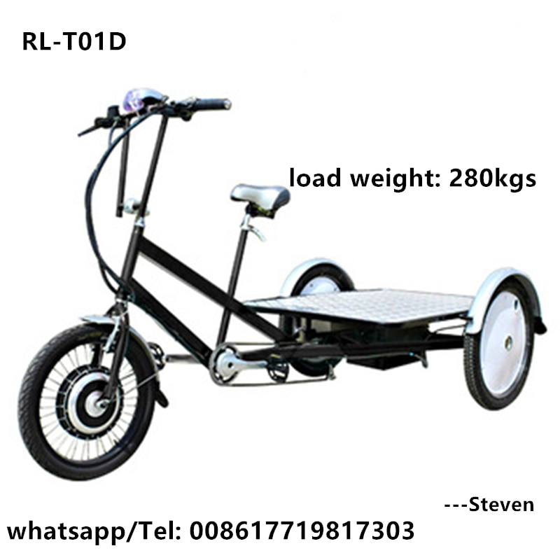 RL-T01D bicicleta eléctrica de carga de 3 ruedas, pedal de triciclo, triciclo, trike de entrega de alimentos