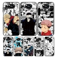jujutsu kaisen comic for xiaomi poco x3 nfc m3 m2 x2 f3 f2 pro c3 f1 mi play mix 3 a2 a1 6x 5x black soft phone case