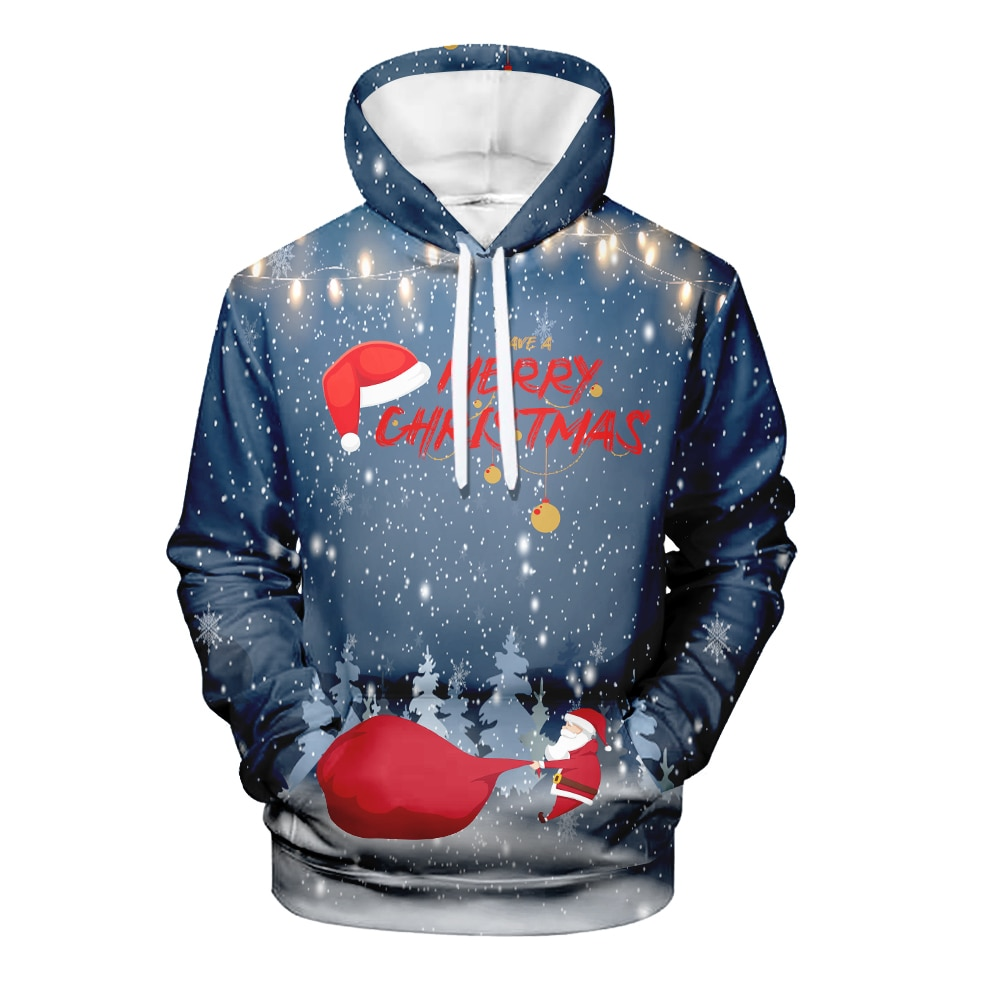 WAMNI Kawaii Navidad Sudadera con capucha Streetwear Anime Santa Claus Cosplay 3D Sudadera con capucha alta calle chándal Dropship Cloth