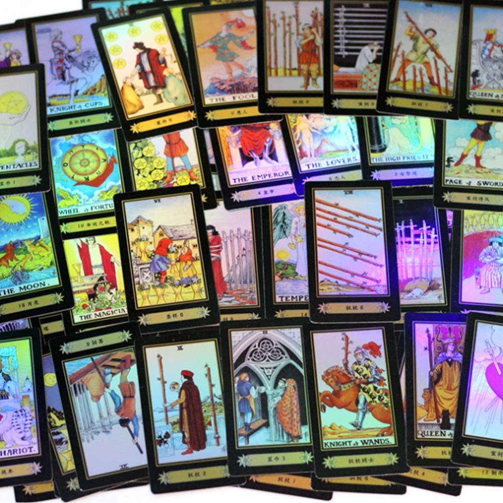 Cartas juego de mesa holográfica Tarot 78 Uds. Tarjetas brillantes edición completa en inglés para el entretenimiento de astrología reglas en inglés