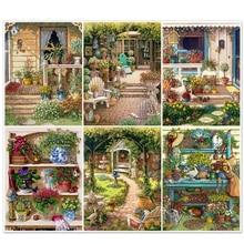 5D Full Square Diamond Embroidery Courtyard Paint With Diamonds Diamond Mosaic Cross Stitch Scenery Home Decoration