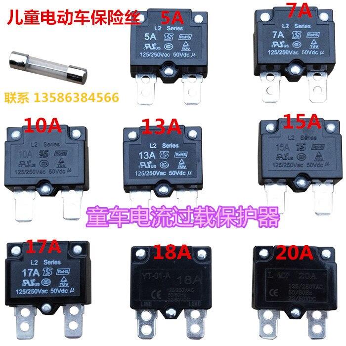Relais dauto-réinitialisation de dispositif de Protection de surcharge de disjoncteurs actuels 5a/7a/10a/15a/20a pour la voiture électrique de 4 roues denfants