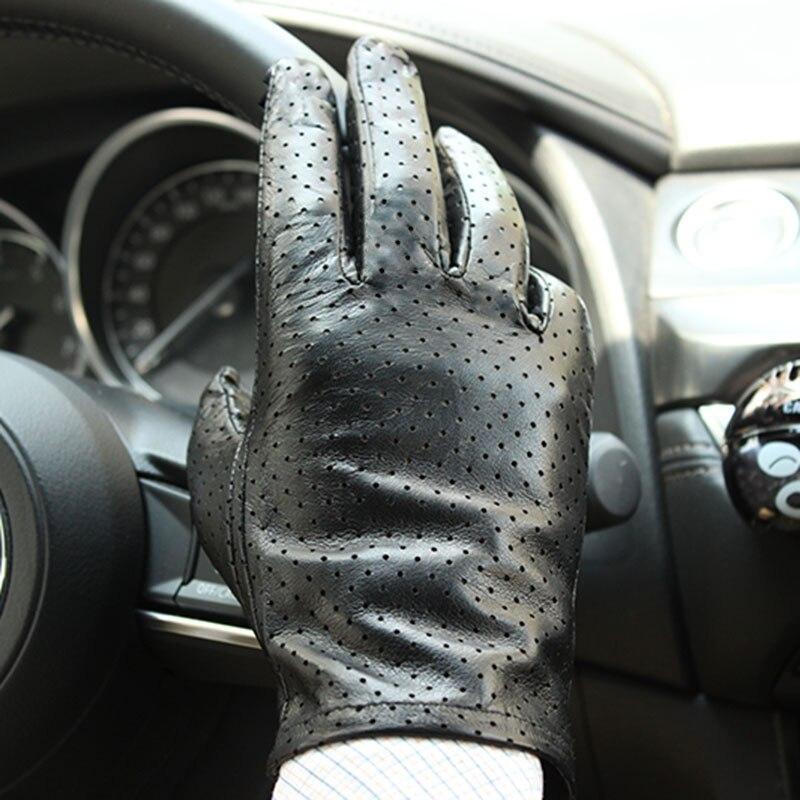 Перчатки мужские тонкие кожаные однослойные из импортной козьей кожи, модные Перфорированные дышащие черные, для вождения автомобиля, летн...