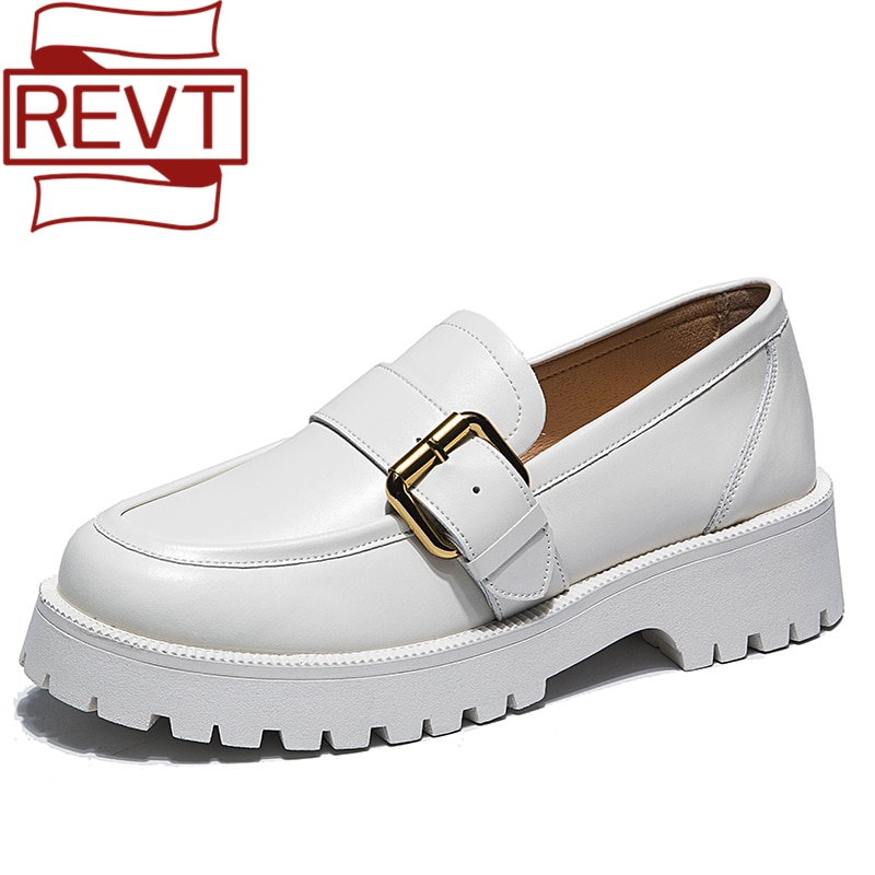 REVT Spring Genuel Leather Thick-Soled Female Girls Students Loafers Casual Shoes Lolita Rome All-Match Lazy Black White Shoes