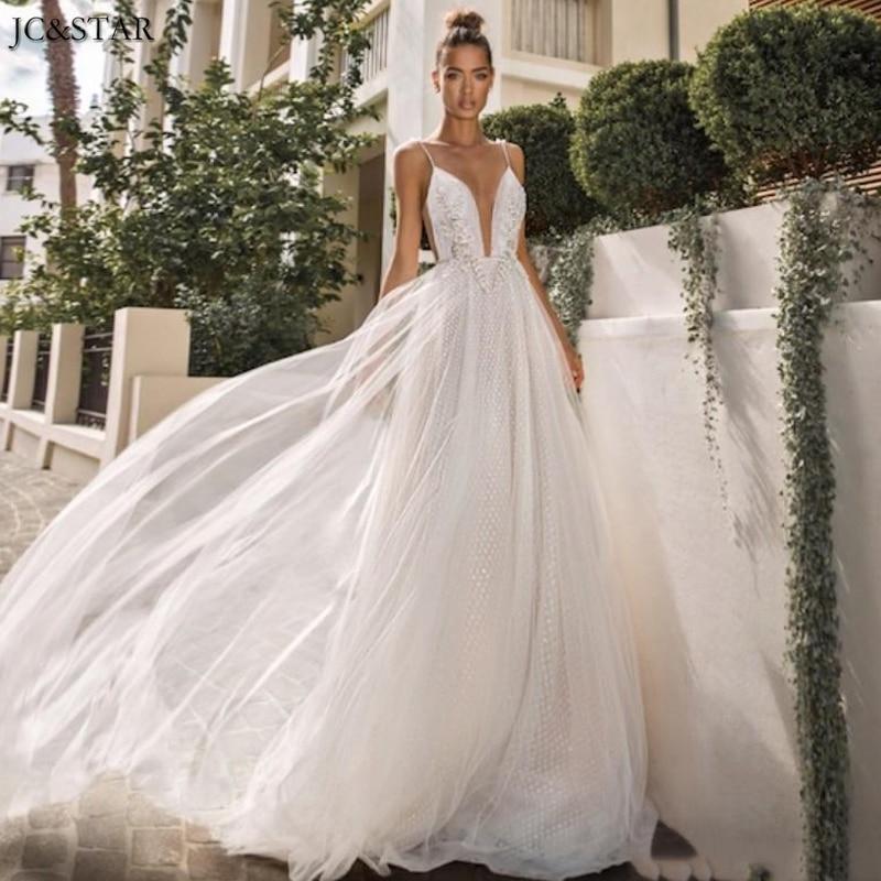 Vestidos de novia con tirantes finos, apliques de encaje, vestido de novia...