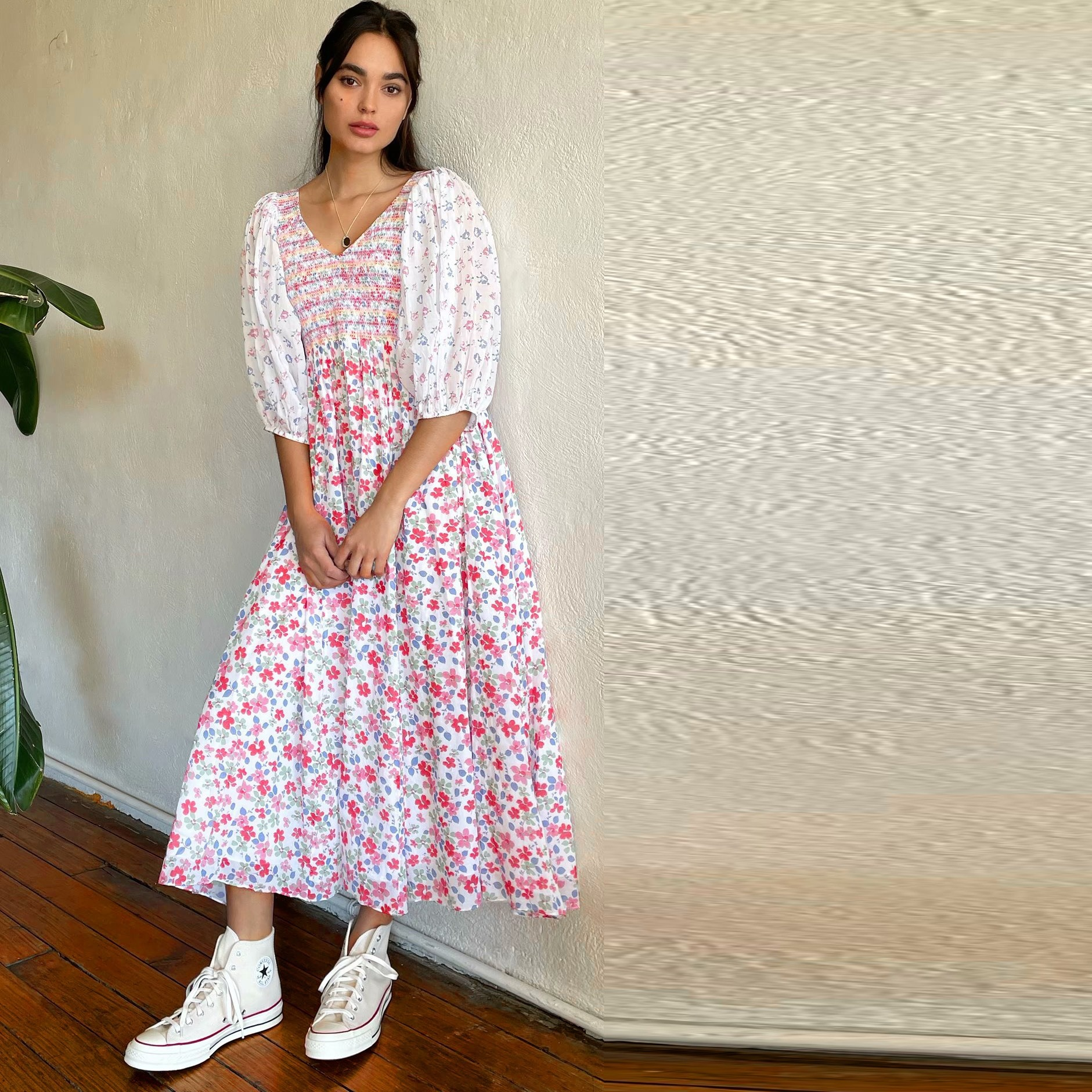 Beachapche ربيع المرأة خمر المرقعة الأزهار طباعة فستان مناسبات الإناث فانوس كم كبير سوينغ فستان طويل غير رسمي بوهو رداء
