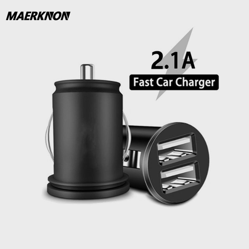 Dual USB Car Charger 2.1A Quick charge For xiaomi iphone 12 pro max Samsung a71 Mobile Phone Fast Ca