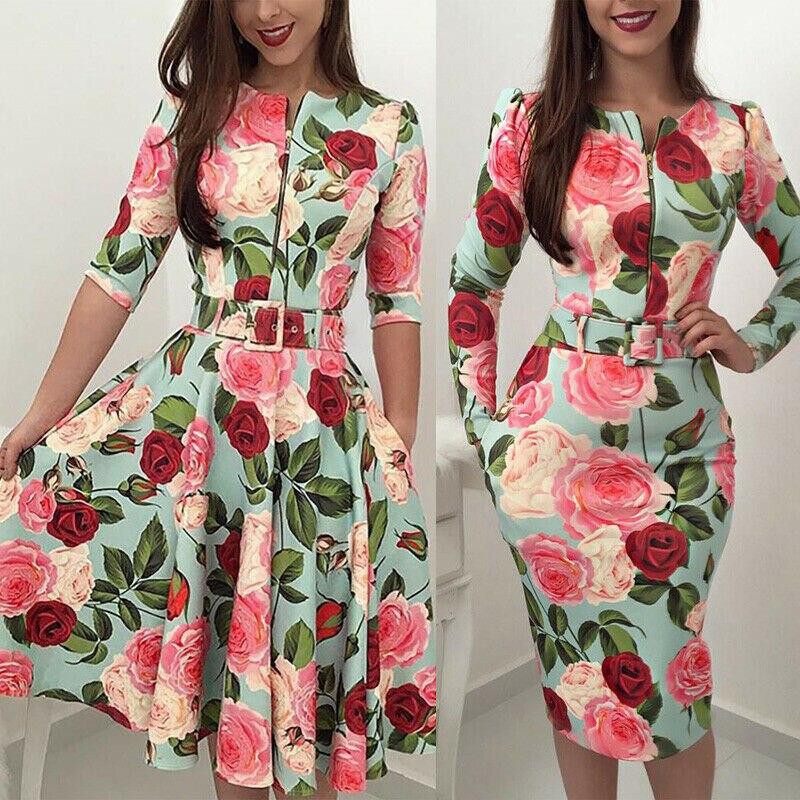 Женское винтажное платье миди с длинным рукавом и цветочным принтом Платья      АлиЭкспресс