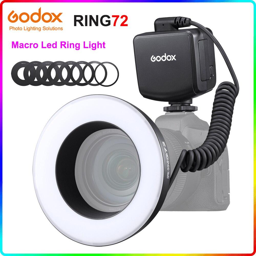 Godox RING72 8 واط 5600K ماكرو LED مصباح مصمم على شكل حلقة CRI 96 + 8 محول العدسة خواتم منفصلة التحكم سطوع لكانون نيكون كاميرات DSLR