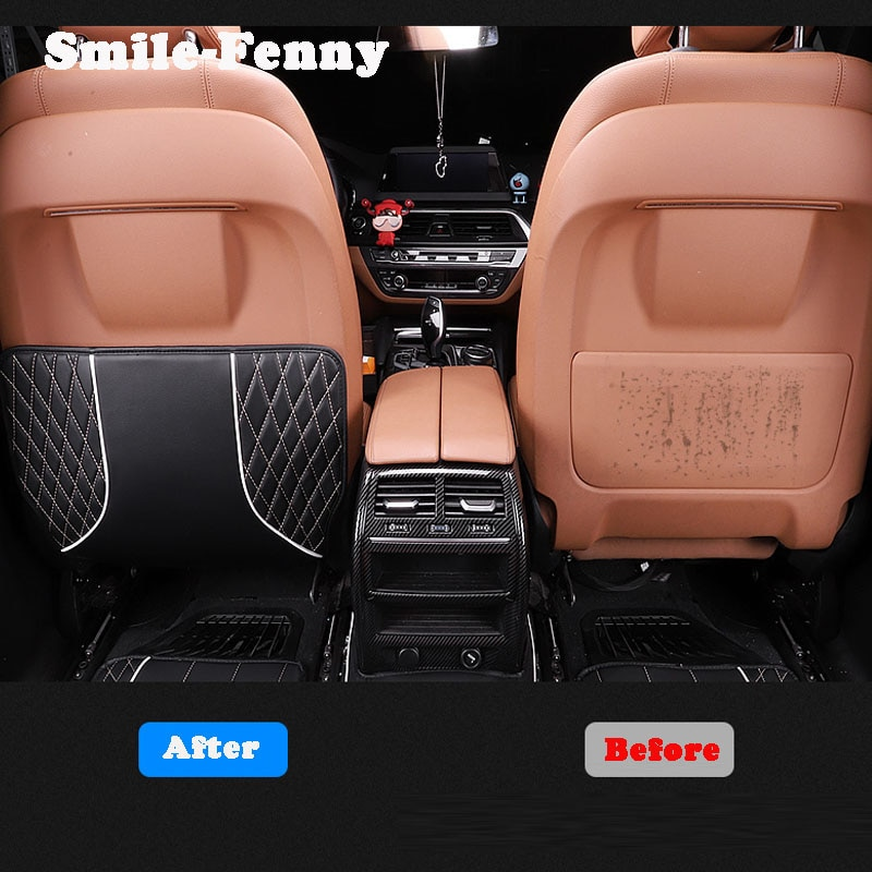 For BMW 7 Series G11 G12 Accessories Car Seat Anti-Kick Pads PU Leather Anti-Kick Mat Rear Seats Cover Back Protection Mat 2pcs enlarge