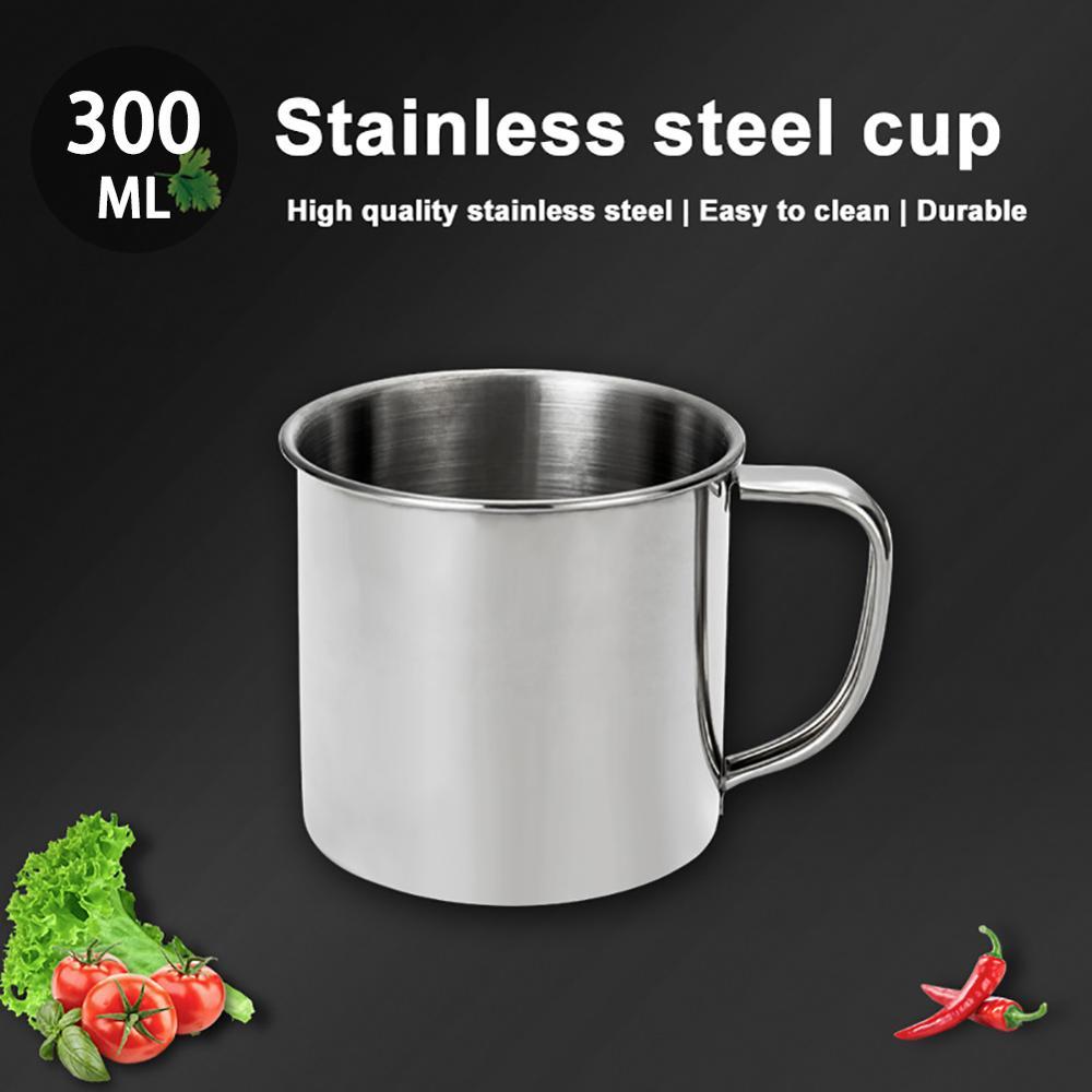 Jarra de café de viaje de acero inoxidable portátil a prueba de herrumbre a escala 300ml, tazas, borde, dobladillo, té, leche potable, agua Cu