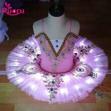 Ruoru professionnel Ballet Tutu jupe ballerine robe de Ballet enfants filles adulte Led Tutu Costume de danse crêpe Tutu cygne Vestido