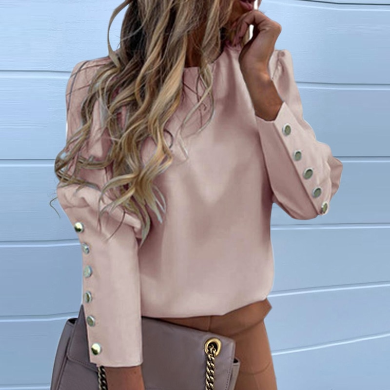 Puff hombro blusa camisas Oficina señora nuevo Dihope Metal abotonado detalle blusas Mujer piña estampado manga larga Top