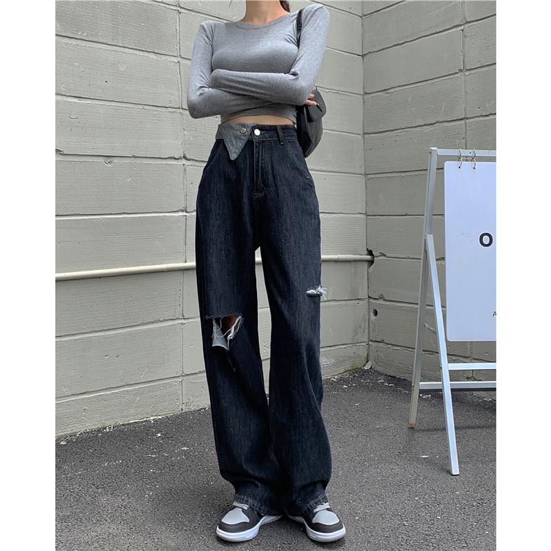 ممزق ريترو جينز المرأة عالية الخصر مستقيم بنطال ذو قصة أرجل واسعة سليم بنطلون نسائي خريف 2021 شيك الشارع الشهير