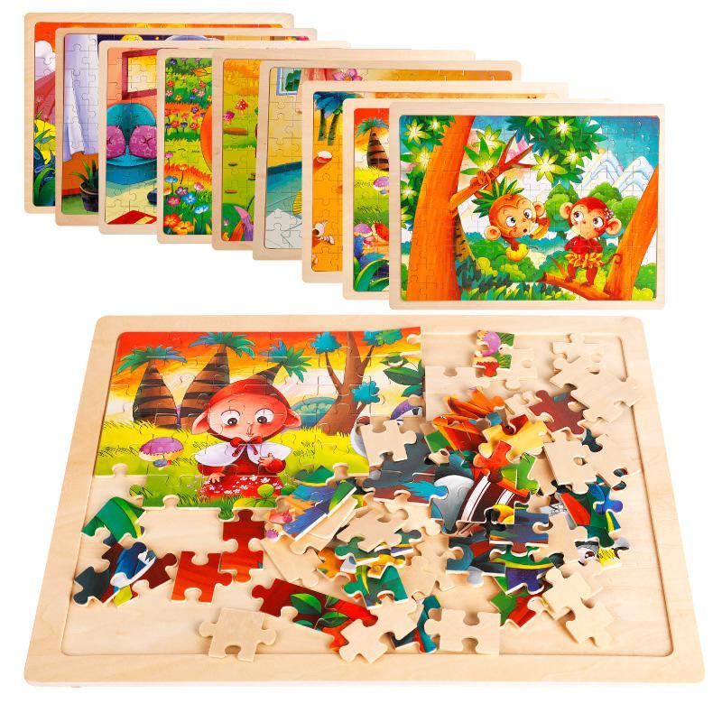 Rompecabezas educativo Alpinia Oxyphylla 100 Uds. De diseño de Panel de madera para niños, juguetes de regalo, varios estilos