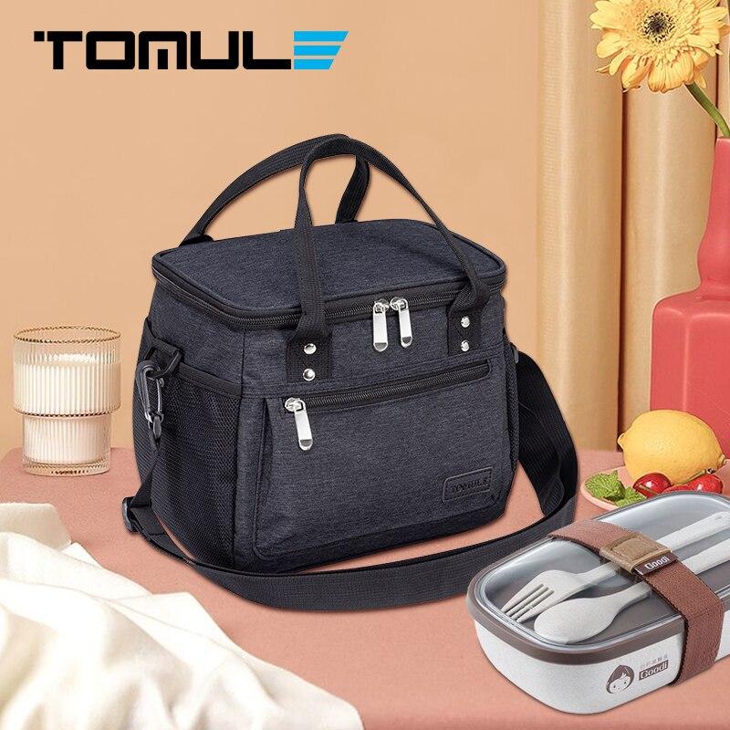 Tomule термоизолированная сумка для ланча, сумки-Кулеры, модные портативные сумки для пикника, водонепроницаемая Термосумка, Черная