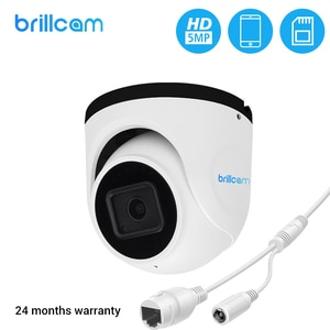 Brillcam 5MP UHD IR Dome IP Camera with 2.8mm Len PoE IP67 Weatherproof AI SD Recording Built in Microphone Night Vision Cam