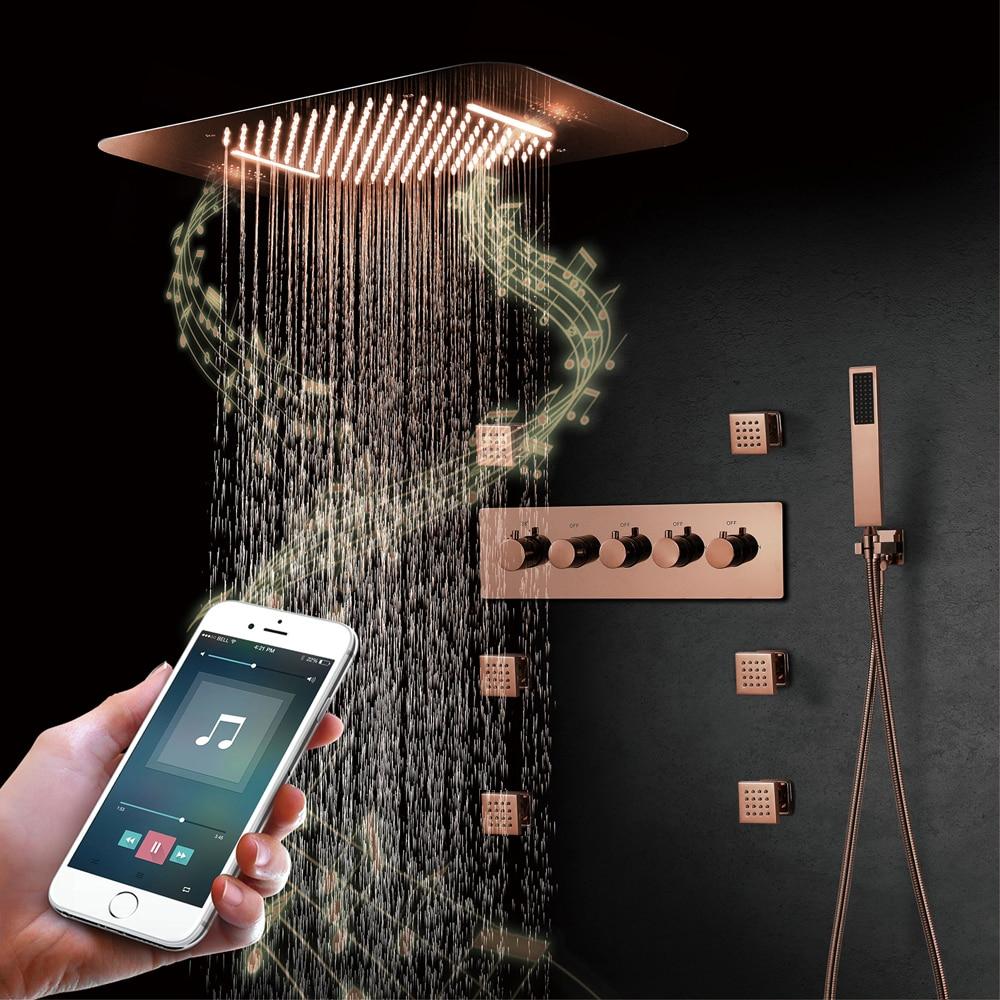 فيلا ارتفع الذهب مصقول أنظمة الموسيقى دش الحمام صنبور جزءا لا يتجزأ من السقف LED دش رئيس منظم حرارة للحمام خلاط الصنابير