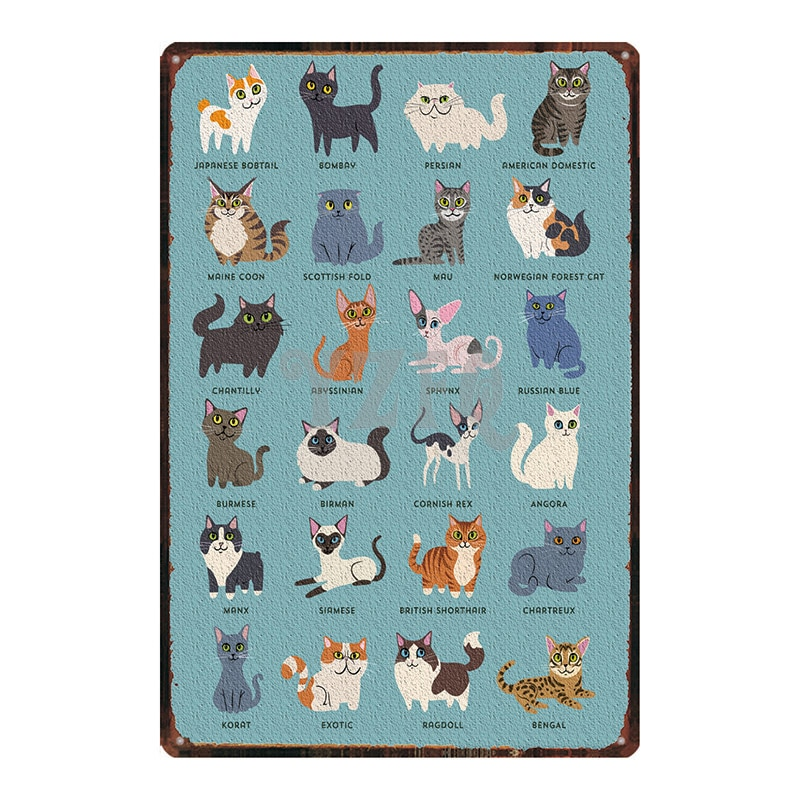 Placa de cartel de gato placa de Metal Retro para mascotas para cartel de pared Bar Café hogar arte Retro Decoración Cuadros DU-2877