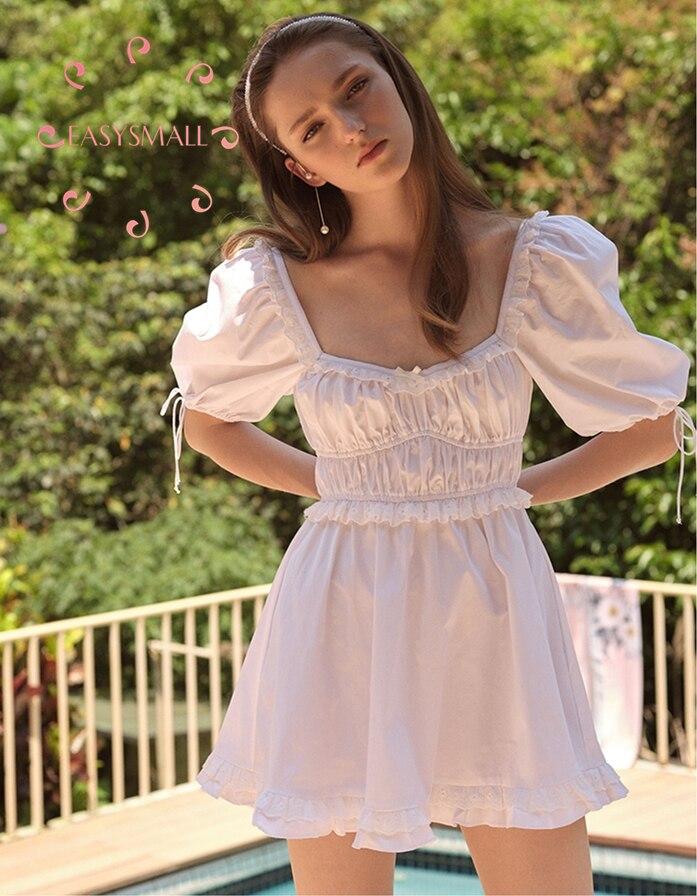 EASYSMALL para el amor limones mujeres Vestido de estilo campestre de gama alta de fiesta de noche francés cuadrado collar de alta cintura Vestidos cortos