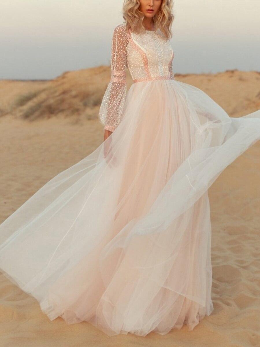 Vestido de novia de encaje bohemio de manga larga con apliques para...
