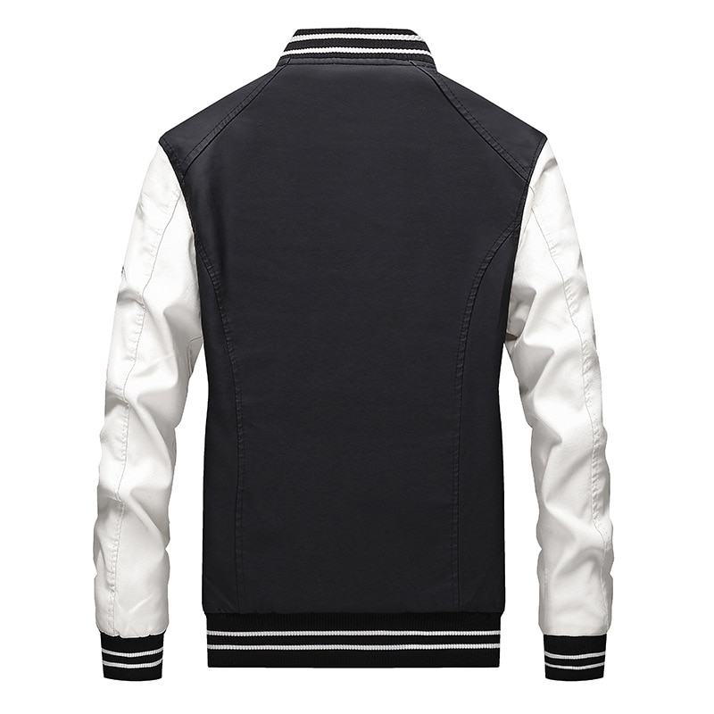 Men's Stand Collar Color Contrast Shoulder Band Jacket Men's Casual Fashion City Badge Hooded Cotton Faux Leather Jacket enlarge