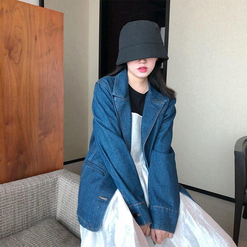 Chaqueta de mezclilla Casual Retro mujer primavera otoño suelta Vintage señoras Denim solapa de chaqueta sola capa femenina botonadura 2020 nuevo f2843