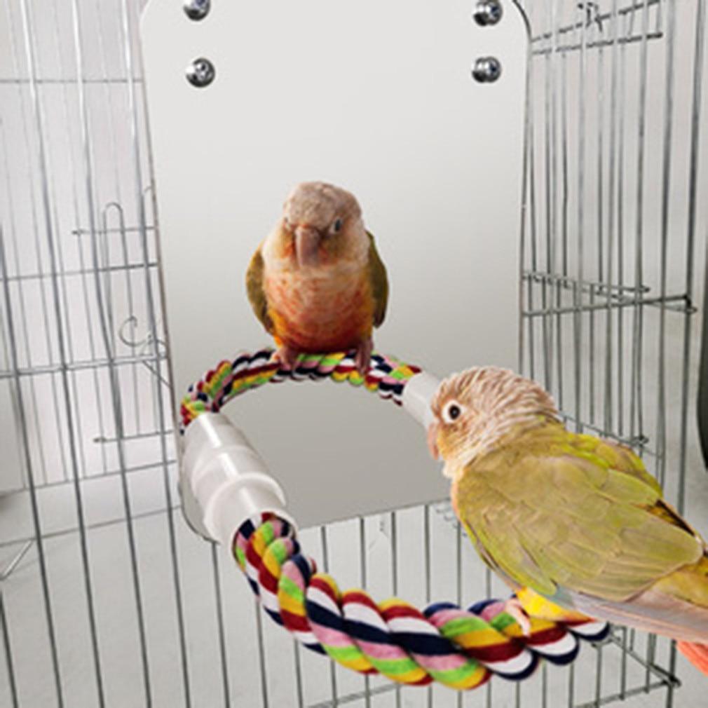 Loro de juguete de mascar espejo grande de algodón cuerda de estación de Bar conjunto para mascotas jaula colgante columpio cuerda de escalada espejo accesorios para mascotas