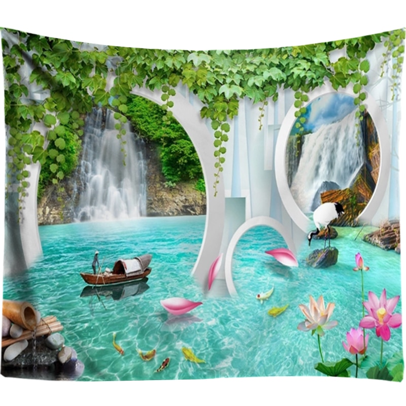 3D Waterfall Tapestry Lotus Flowers Mandala Wall Hanging Hippie Psychedelic Tapestry Wall Art Boho Decor Wall Carpet tapiz pared