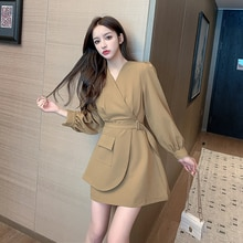 Business Suit and Dress Women's 2021spring New Temperament Waist-Controlled Slimming French Style Lo