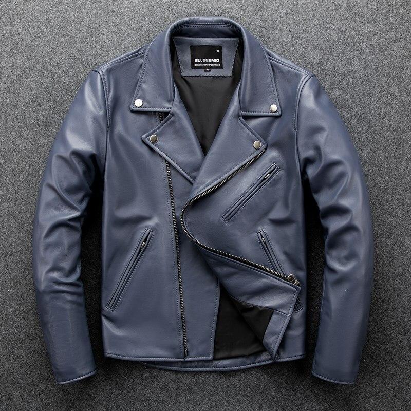 GU.SEEMIO-جاكيت جلد الغنم للرجال ، ملابس جلدية حقيقية ، زخرفة معدنية قصيرة ، محرك عصري للربيع والخريف