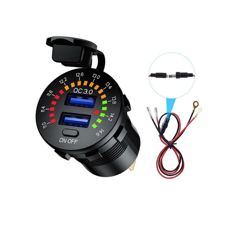 Cargador de coche USB Dual 12V 24V QC3.0 carga rápida con Cable de interruptor de voltímetro LED W91F