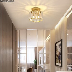 modern crystal led ceiling lights lamp for living room atelier Bedroom shiny lampa kitchen hallway lighting fixtures round Gold