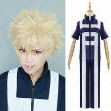 My Boku No Hero Academia Anime Wig Bakugou Katsuki Short Hair School Uniform Suit Fitness Sports Jackets Pants Cosplay Costumes