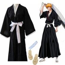 Kimono traditionnel japonais Oriental samouraï eau de javel Kurosaki Ichigo Cosplay Costumes Robe avec sandales de paille Naruto Luffy