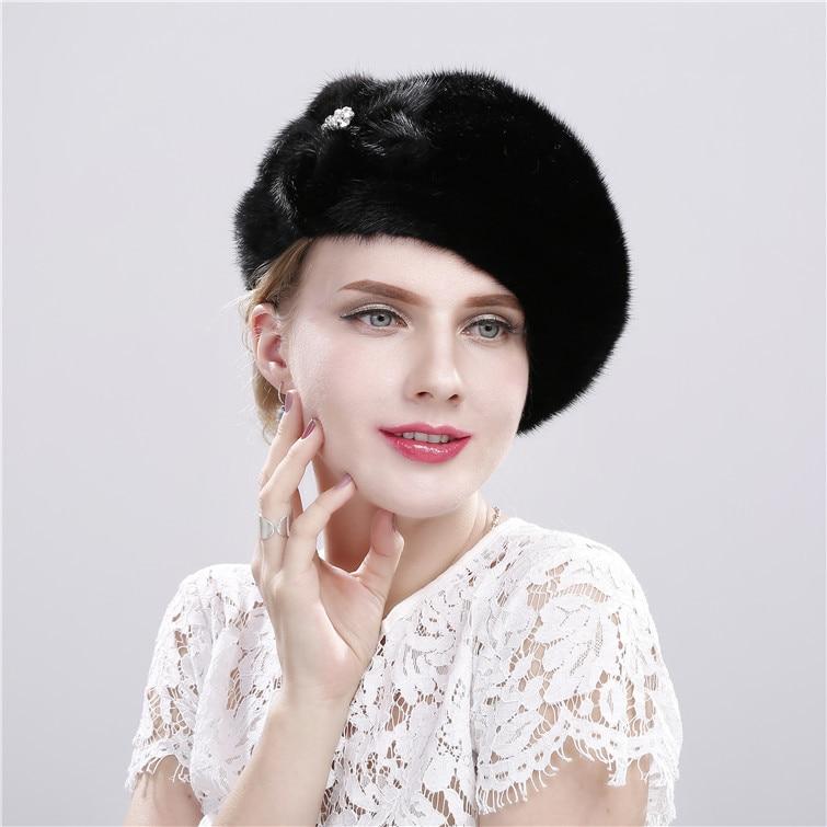 Beret Hat  Ladies Hats  French Fashion Mink Fur Hat Ladies Winter Warm New Whole Leather Flower Diamond Fur Beret  Hat Women