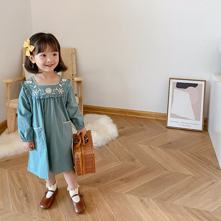 Vestido Floral bordado para bebé, vestidos de manga larga para niñas, ropa de otoño para niños, vestidos con volantes para niñas, ropa infantil