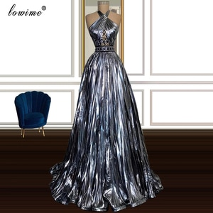 2 Designs Dark Gray Prom Dresses With Crystals Sleeveless Dubai Cocktail Party Dresses Evening Wear Vestidos Formales 2020