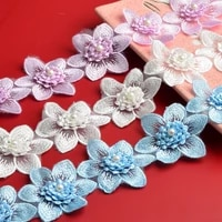 1m organza beaded flowers lace accessories sofa curtain wedding dress diy handmade decorative materials for sewing